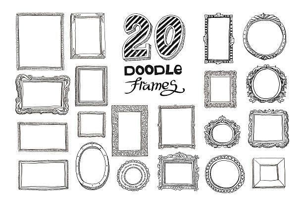 Hand drawn doodle frames set Hand drawn doodle frames set. Vector illustration. book borders stock illustrations