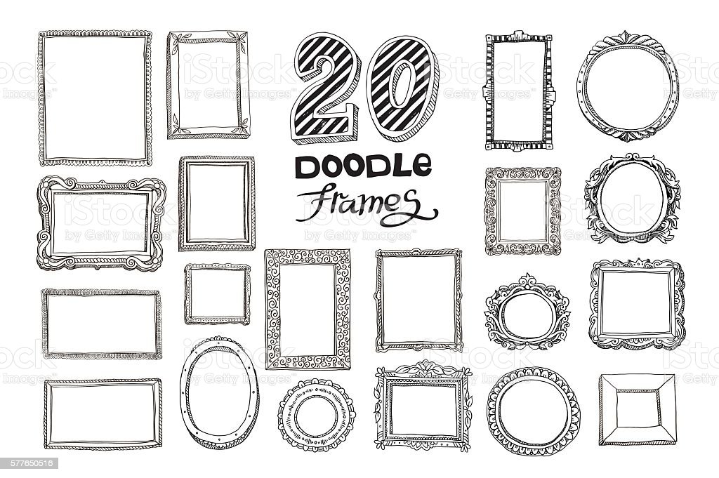 Hand drawn doodle frames set vector art illustration