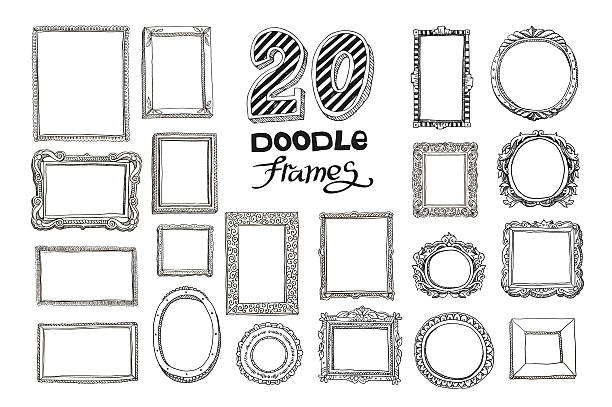 illustrations, cliparts, dessins animés et icônes de hand drawn doodle frames set - bordures pour cadres photo
