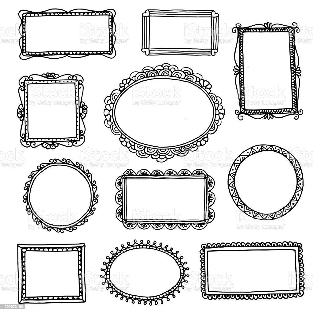 Hand drawn doodle frames royalty-free hand drawn doodle frames stock vector art & more images of antique