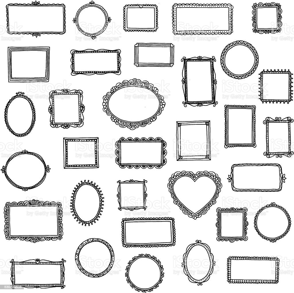 33 hand drawn doodle frames vector art illustration