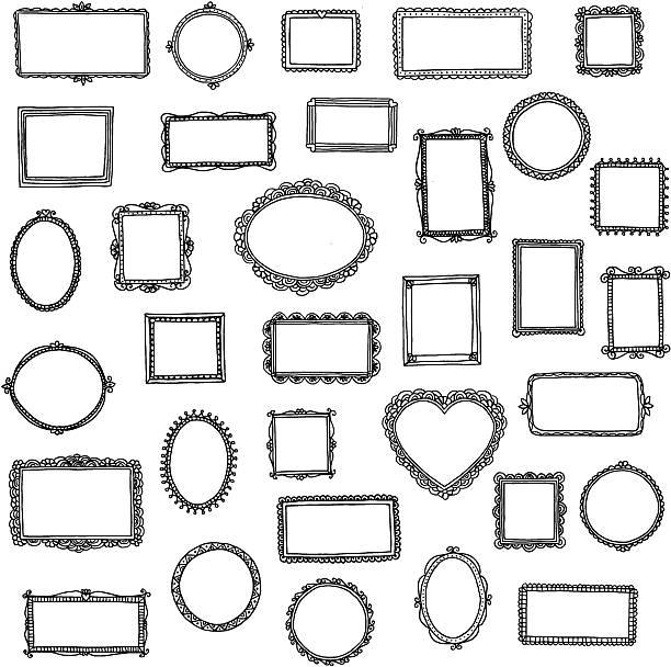 ilustraciones, imágenes clip art, dibujos animados e iconos de stock de 33 dibujado a mano doodle marcos - marcos de garabatos y dibujados a mano