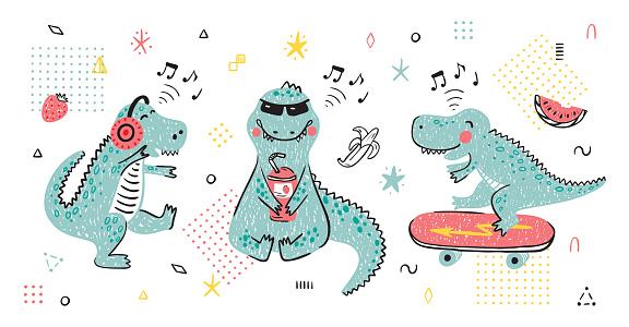 Hand drawn doodle Funny Dinosaur Set. Summer T-shirt print design for kids fashion with Cute Dinosaurs. Cartoon Animal vector illustration