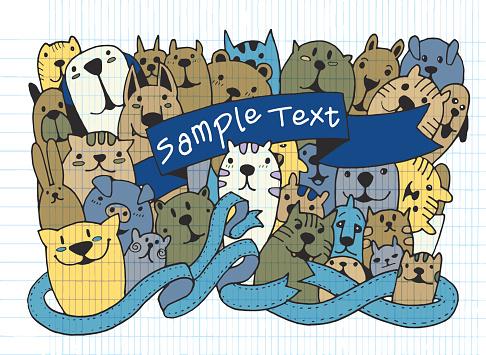 Hand drawn doodle Funny Pet Set
