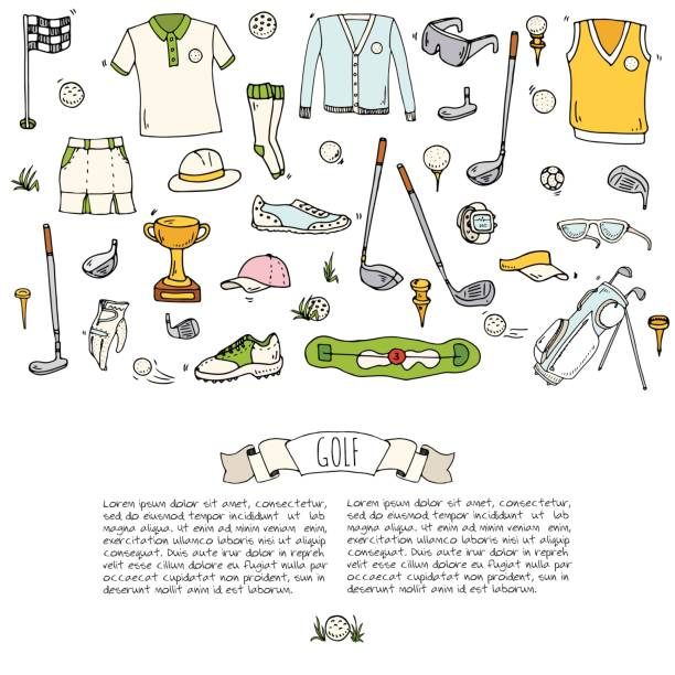 Hand drawn doodle Golf icons set. Vector illustration. Game collection. Cartoon golfing various sketch elements: clubs, tee, bag, cart, sport cloth, shoes, polo shirt, umbrella, flag, hole, grass. vector art illustration