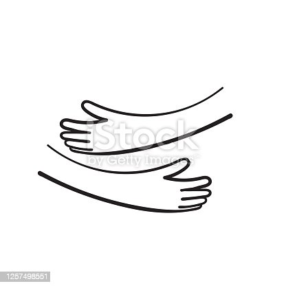 hand drawn doodle hand with hug gesture illustration vector