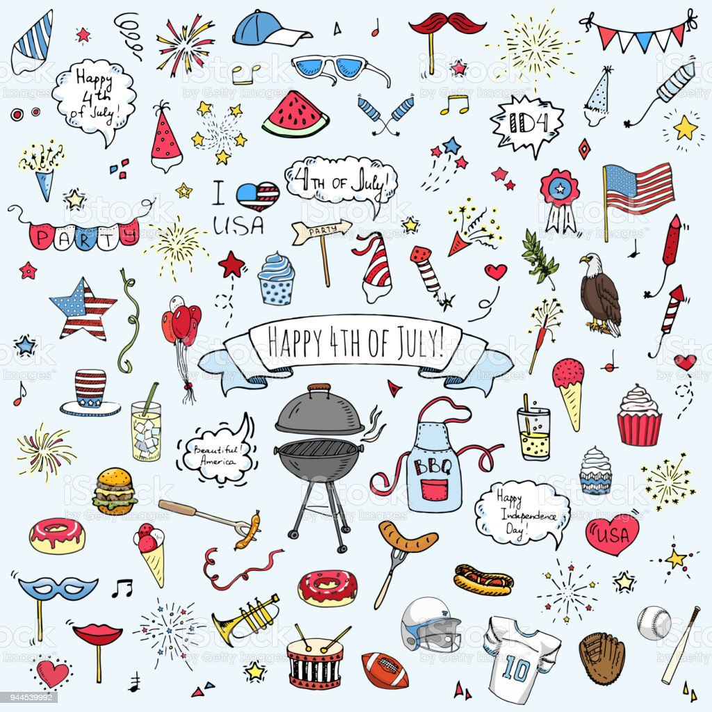 Hand drawn doodle Happy 4th of July icons set vector art illustration