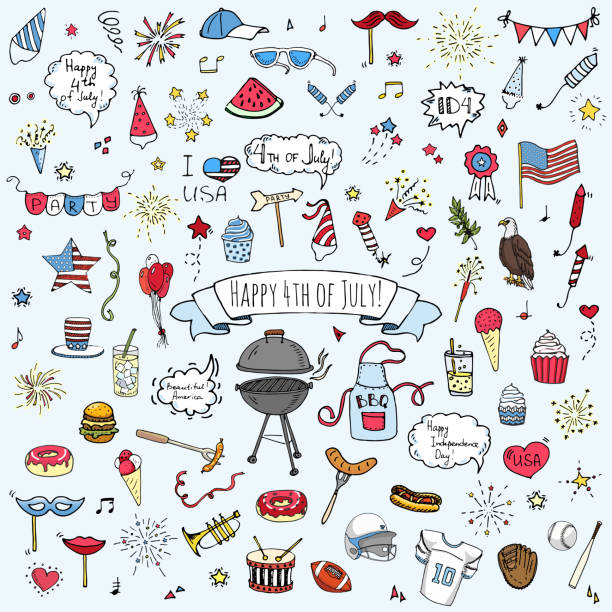 Hand drawn doodle Happy 4th of July icons set Hand drawn doodle Happy 4th of July icons set Vector illustration USA independence day symbols collection Cartoon sketch celebration elements: BBQ, food, drink, party, rocket, fireworks, American flag july 4th illustrations stock illustrations