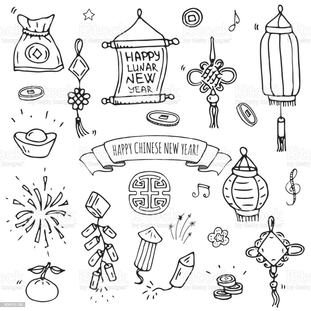 Hand Gezeichnet Doodle Happy Chinese New Year Icons Set Stock Vektor ...
