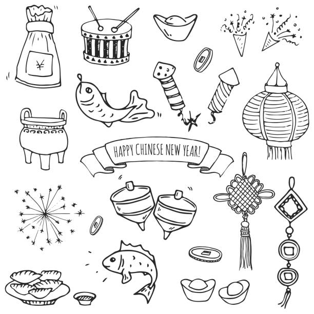 Hand drawn doodle Happy Chinese New Year icons set vector art illustration