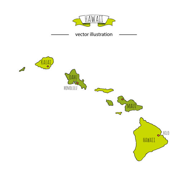 Hand drawn doodle Hawaii map icon Vector illustration isolated on white background Hawaiian islands outer borders symbol Cartoon ribbon band element icon. USA state, Honolulu, Maui, Oahu vector art illustration