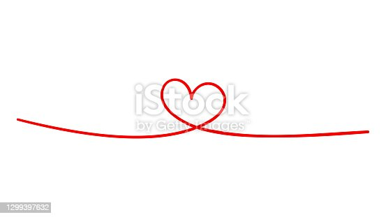 istock Hand drawn doodle heart. Continuous line art drawing. 1299397632