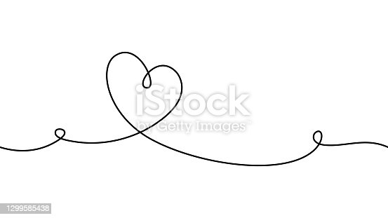 istock Hand drawn doodle heart. Stroke is editable so you can make it thiner or thicker. Continuous seamless line art drawing. 1299585438