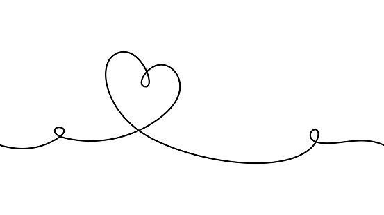 Hand drawn doodle heart. Stroke is editable so you can make it thiner or thicker. Continuous seamless line art drawing.