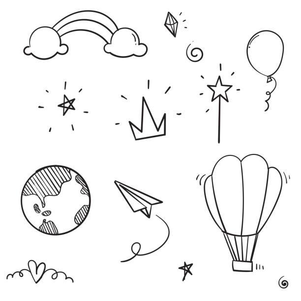 ręcznie rysowane doodle ikona kolekcja ilustracja styl kreskówki wektor stylu - bazgroły rysunek stock illustrations