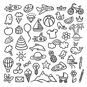 Hand drawn doodle illustrations. Cute vector drawings with different objects