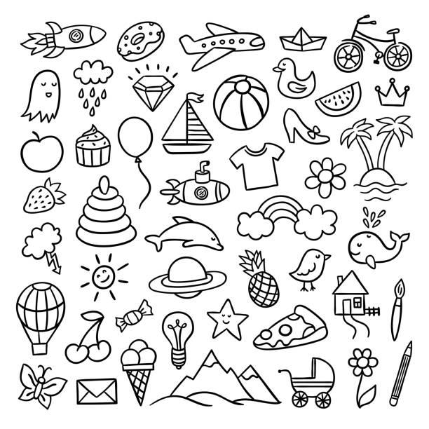 hand gezeichnet doodle illustrationen. niedliche vektorzeichnungen mit verschiedenen objekten - entenhaus stock-grafiken, -clipart, -cartoons und -symbole