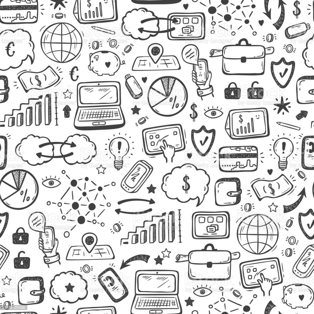 Hand Drawn Doodle Internet Of Things Stock Market Cloud Computing  Technology Financial And Business Icons Vector Seamless Pattern Stock  Illustration -