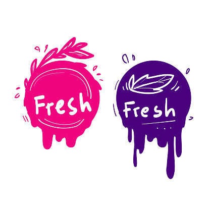 hand drawn doodle juice fresh label fruit icon colorful vector