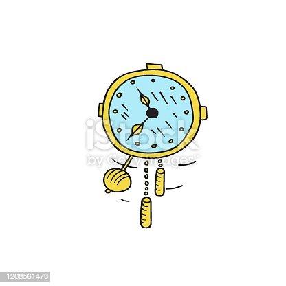 istock Hand drawn doodle kawaii wall clock with pendulum golden hands showing time 1208561473