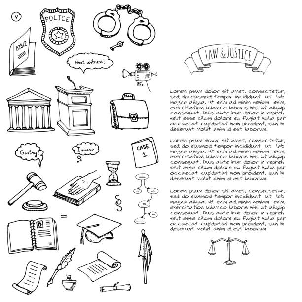 Hand drawn doodle Law and Justice icons set vector art illustration