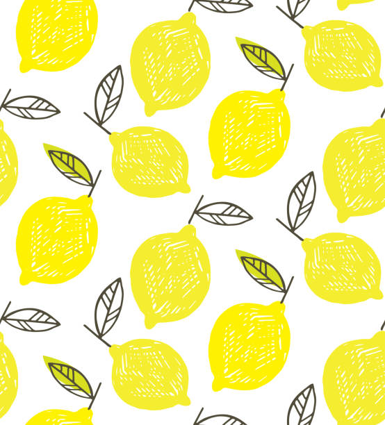 手描き落書きレモン アート - レモネード パターン背景 - レモン点のイラスト素材/クリップアート素材/マンガ素材/アイコン素材