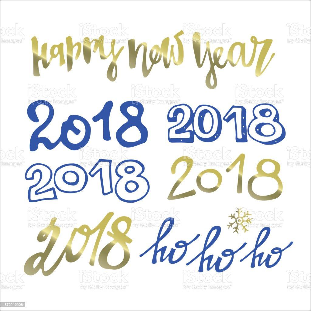 Hand Gezeichnet Doodle Schriftzug Frohes Neues Jahr 2018 Frohe ...