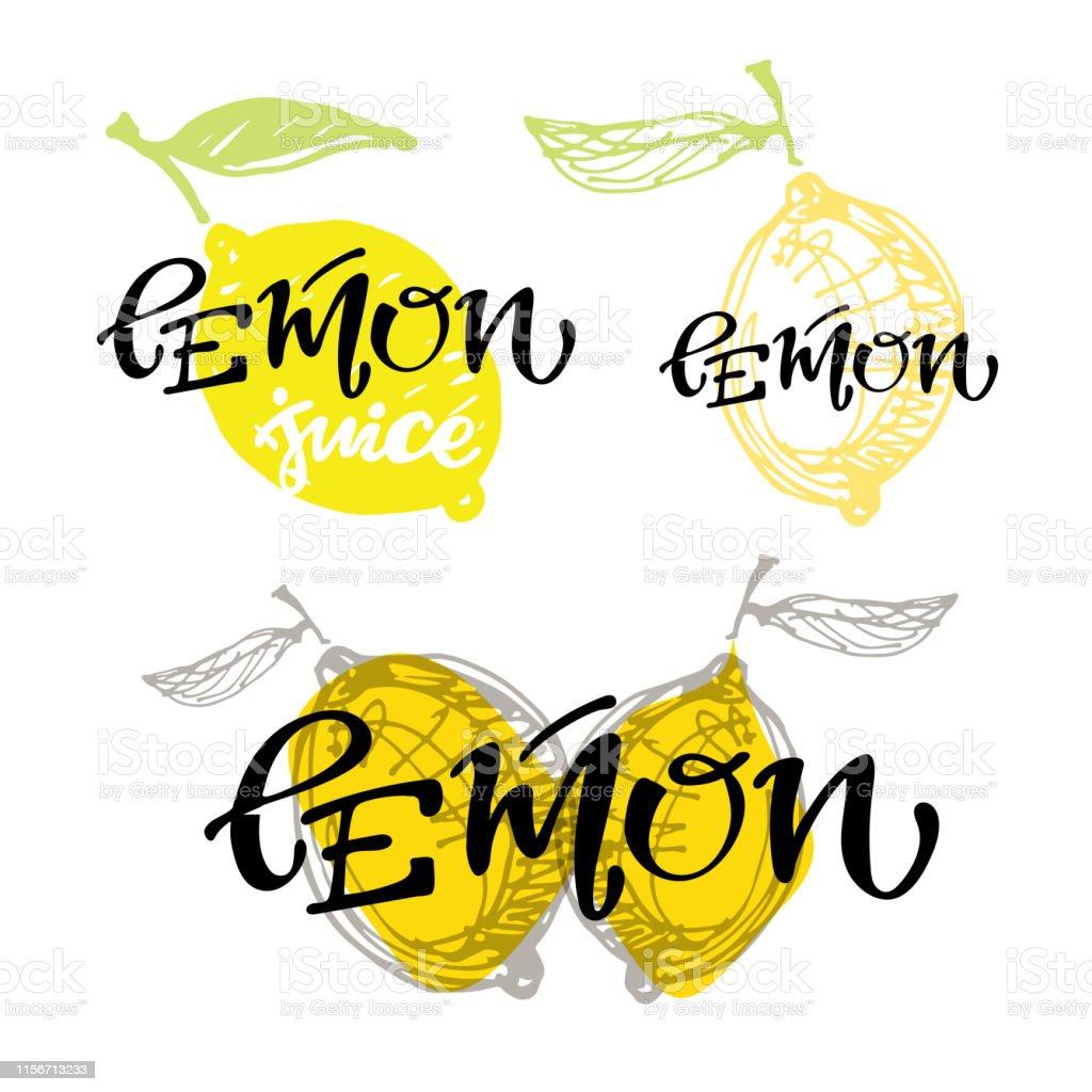Hand drawn lettering label art for symbol, box - fruits art