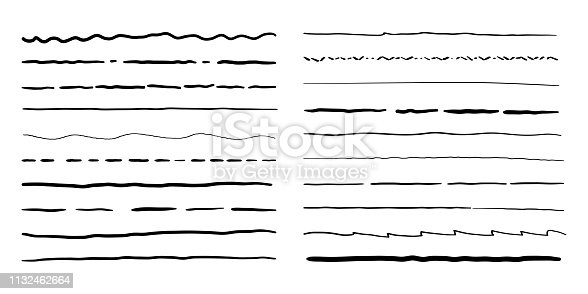 Hand drawn doodle line borders set. Vector pencil scribble sketch pattern for frames design