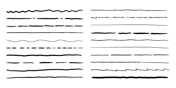 Hand drawn doodle line borders set. Vector pencil scribble sketch pattern frames