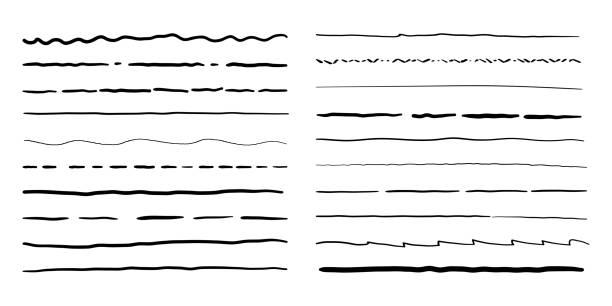 ręcznie rysowane obramowania linii doodle ustawione. wektor ołówek bazgroły szkic ramki wzoru - linia stock illustrations