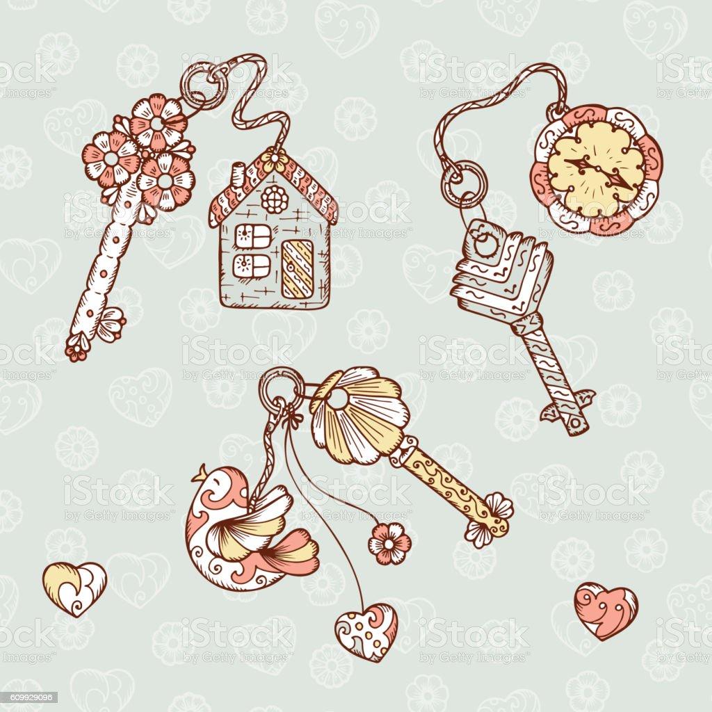 Hand drawn doodle lock, trinkets and keys Vector Vintage set vector art illustration