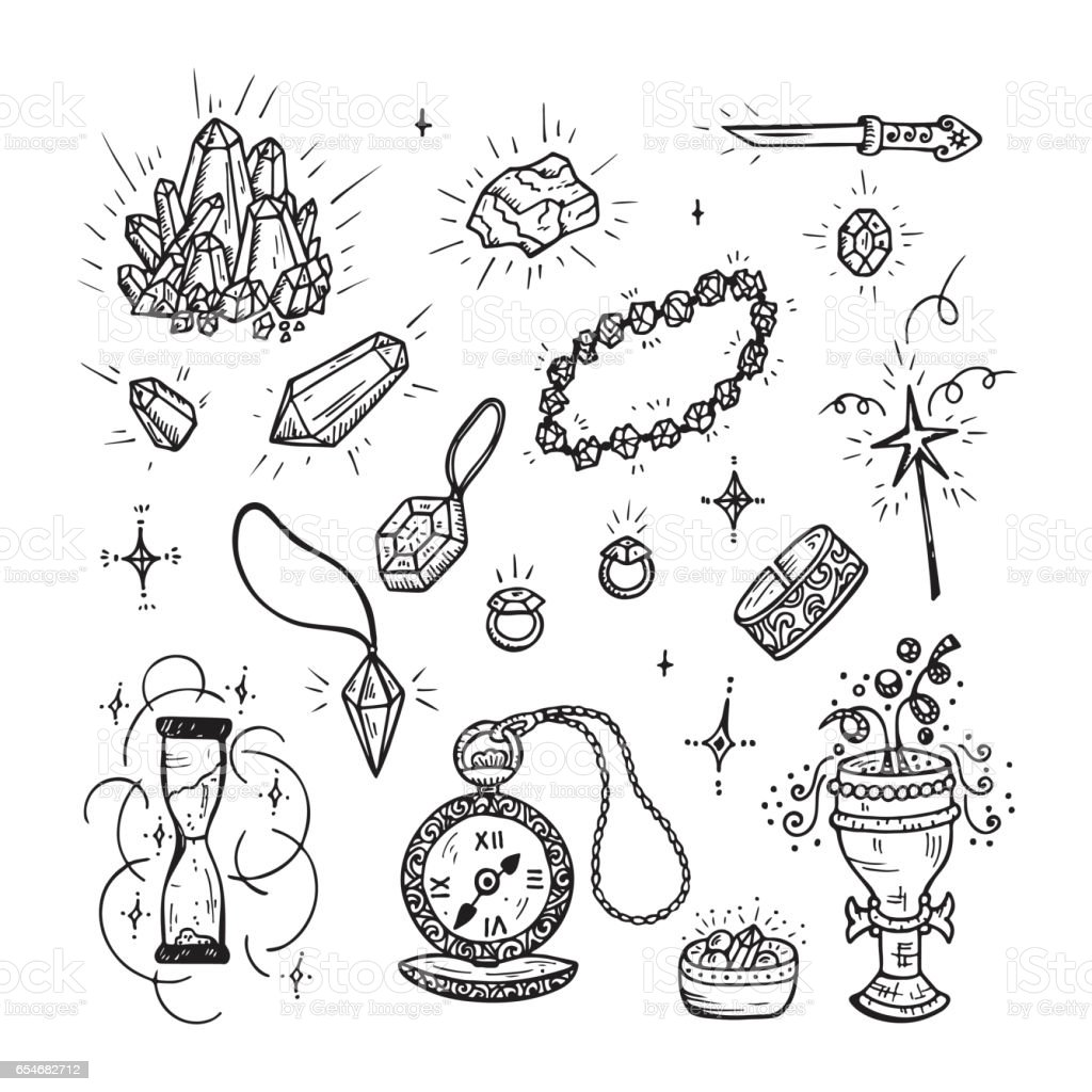 Hand Drawn Doodle Magic Vector Set. Precious Treasures collection: Gold Jewelry, Crystals, Gems, Diamonds vector art illustration