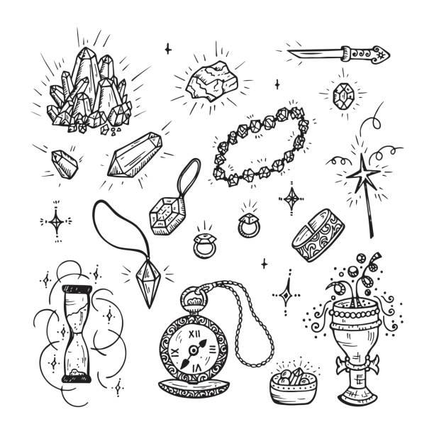 Hand Drawn Doodle Magic Vector Set. Precious Treasures collection: Gold Jewelry, Crystals, Gems, Diamonds vector art illustration