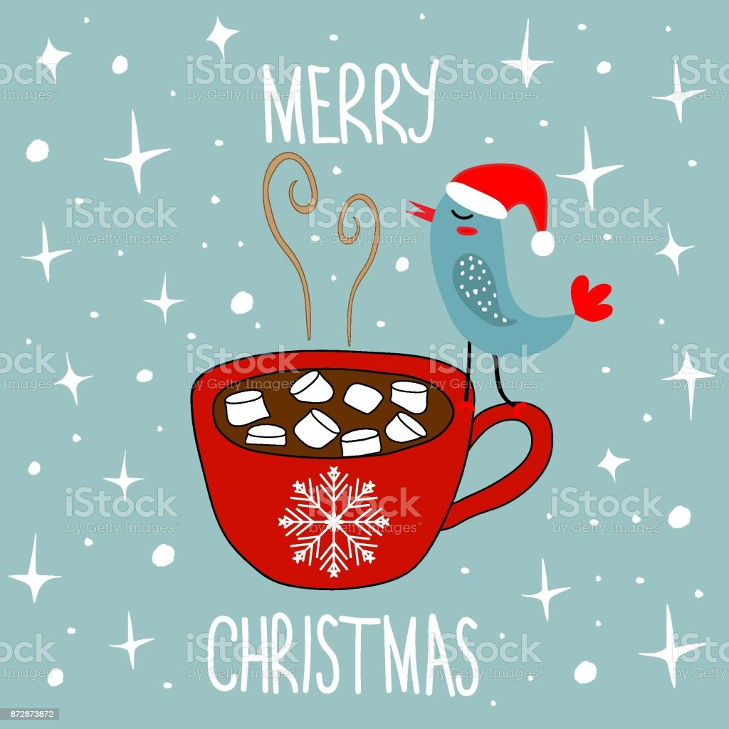 Hand Drawn Doodle Merry Christmas Card. Red Mug with Hot Chocolate Cocoa Marshmallows Kawaii Bird in Santa Claus Hat. White Stars Snow Flakes Baby Blue Background vector art illustration