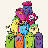 colorful crazy creatures, vector illustration of some cute various characters