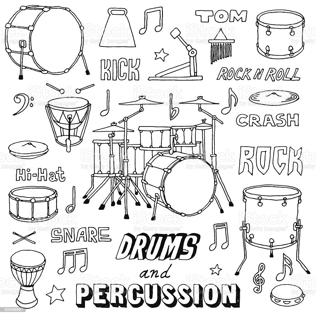Hand drawn doodle musical instruments drums and percussion for Cuarto para colorear