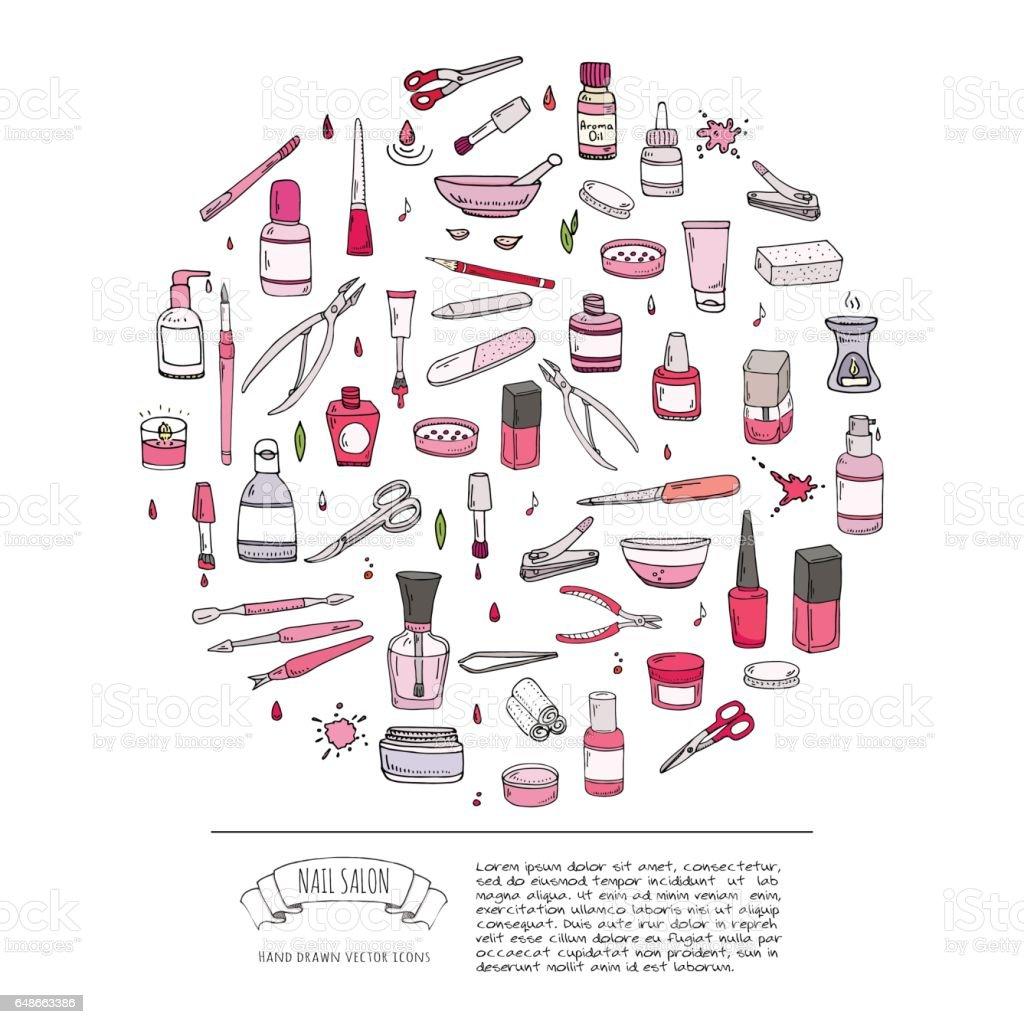 Hand Drawn Doodle Nail Salon Icons Set Vector Illustration Manicure ...