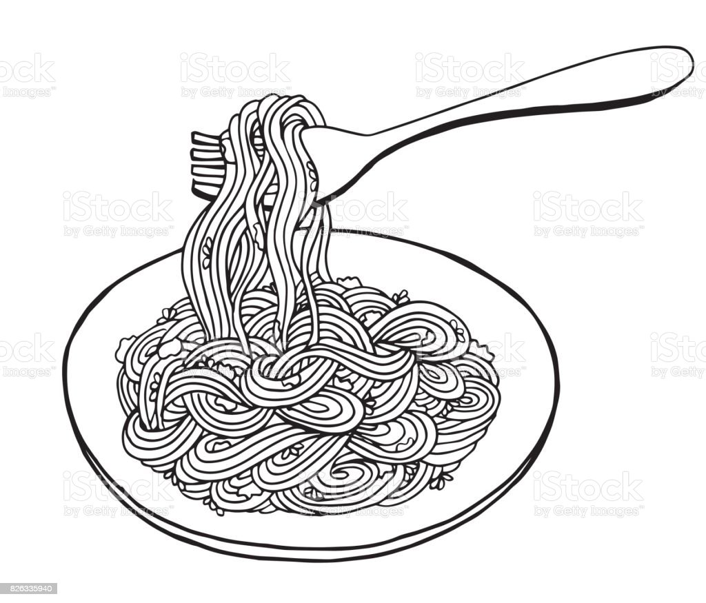 hand drawn doodle noodle at plate and fork illustration