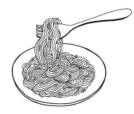 Hand drawn doodle Noodle at plate and fork. - Illustration Noodles, Pasta, Asian Wheat Noodles, Breakfast, Dinner - Illustration Asian Wheat Noodles, Breakfast, Dinner, Eating, Food