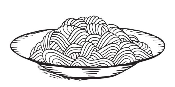 Hand drawn doodle Noodle at plate. - Illustration - Illustration - Illustration Asian Wheat Noodles, Breakfast, Dinner, Eating, Food Hand drawn doodle Noodle at plate. - Illustration - Illustration - Illustration vermicelli stock illustrations