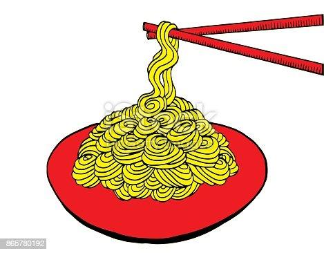 Hand drawn doodle Noodle - Illustration Asian Wheat Noodles, Breakfast, Dinner, Eating, Food