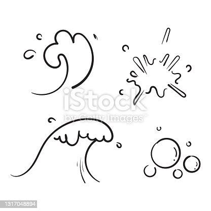 istock hand drawn doodle ocean water splash illustration vector 1317048894