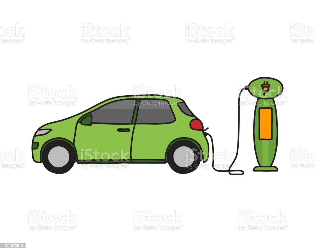 Hand Gezeichnet Doodle Eines Elektroautos An Einer Ladestation ...