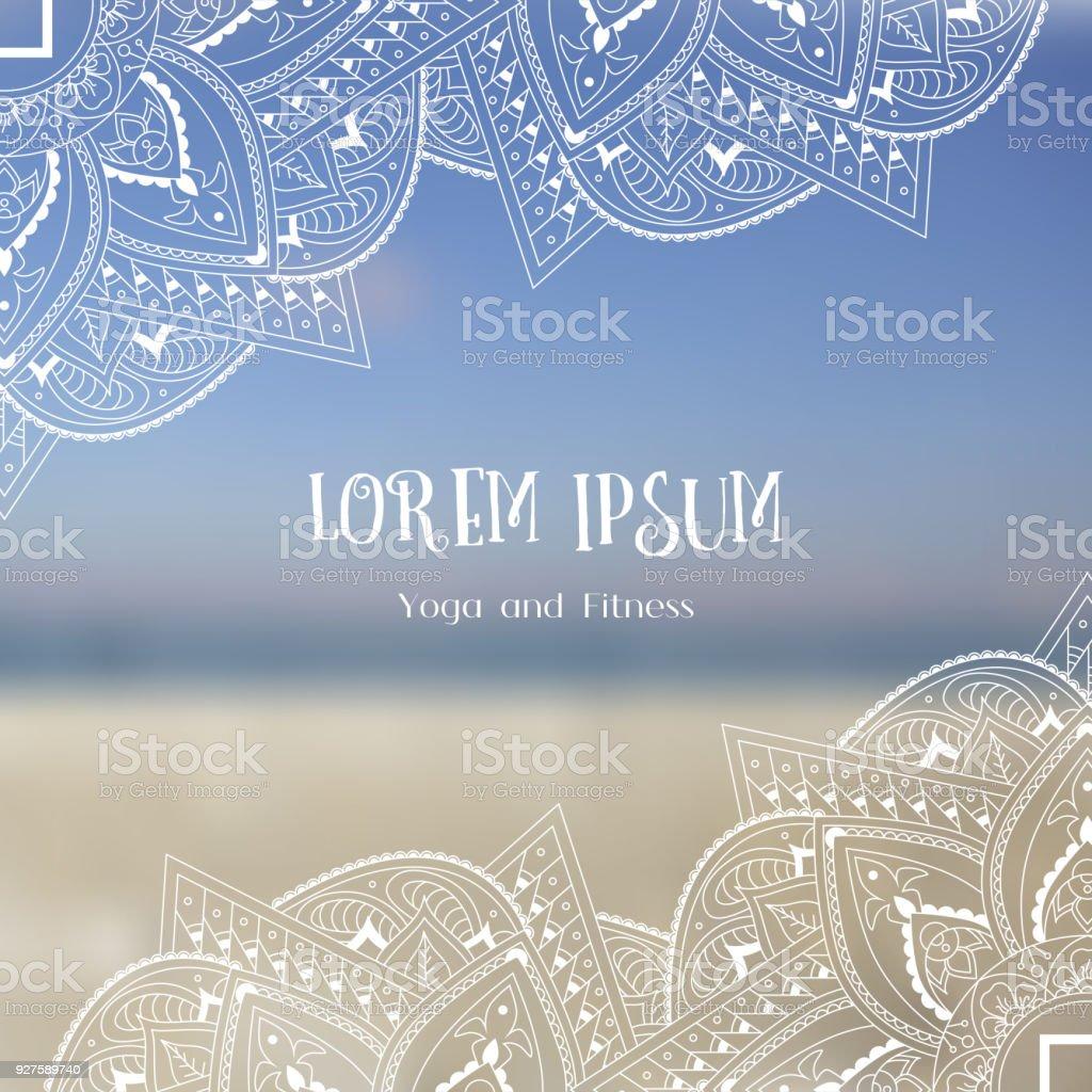 Hand getrokken doodle sier hoeken op de achtergrond wazig strand. Rand voor resort, fitness, yoga.vectorkunst illustratie