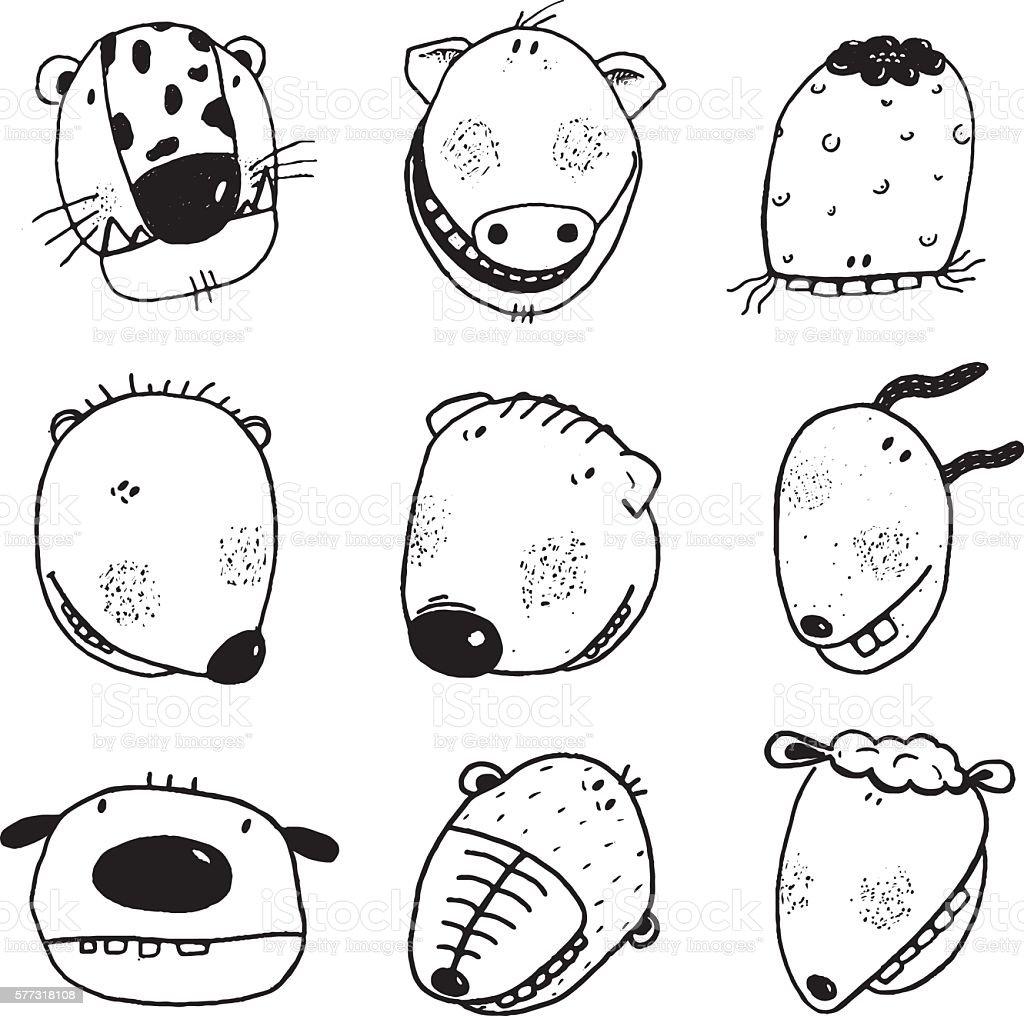 Hand Drawn Doodle Outline Cartoon Animal Heads With Teeth