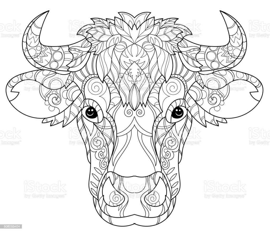 Hand Drawn Doodle Outline Cow Head Stock Vector Art Amp More