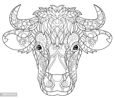 Volwassenen Dieren Kleurplaten Hand Drawn Doodle Outline Cow Head Stock Vector Art Amp More