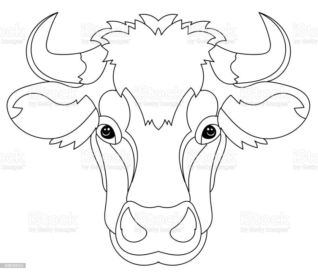 hand drawn doodle outline cow head stock vector art 506253424 istock