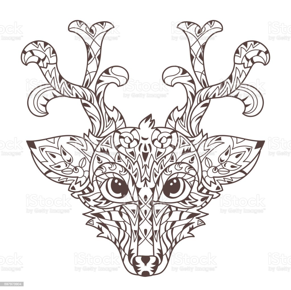 Hand Drawn Doodle Outline Deer Head stock vector art 597973904 | iStock